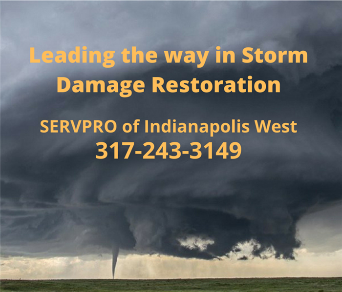 "This is a photo of a large storm cloud with the words ""Leading the way in storm damage restoration."""