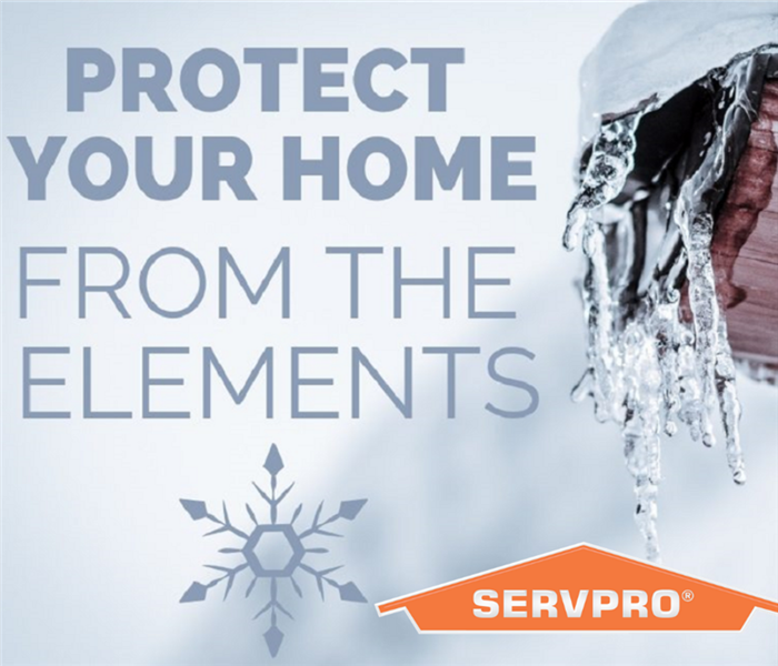 This picture reads, protect your home from the elements, with icicles from a gutter.